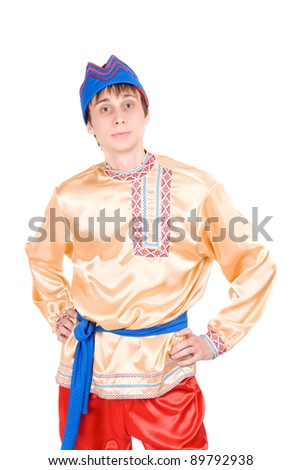 Young man in the Russian national costume. Isolated