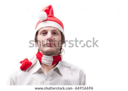 young man in the Santa Claus hat, isolated on a white background
