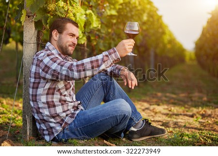 Young man in the vineyard tasting red wine, toned. - stock photo