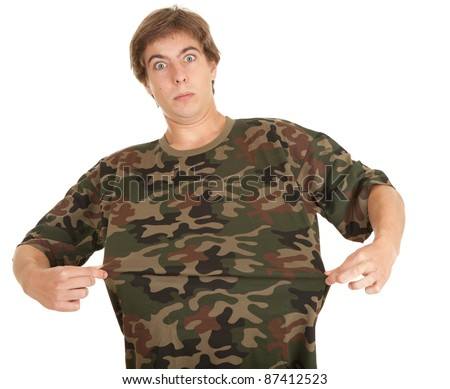 young man in too great camouflage shirt, white background