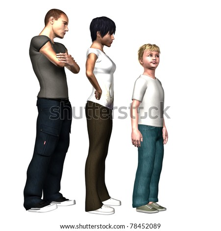 Young man in trouble at school or play makes funny face as Mom & Dad sternly look on Stylized Illustration. Isolated figures on clean white background.