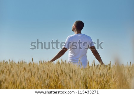 young man in wheat field representing success agriculture and freedom concept
