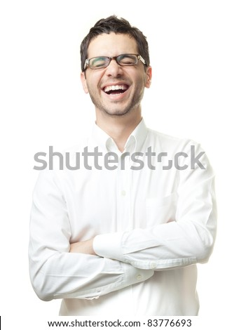 Young man in white shirt and glasses laughing happily isolated on white background