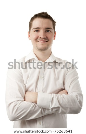 Young man in white shirt isolated on white background