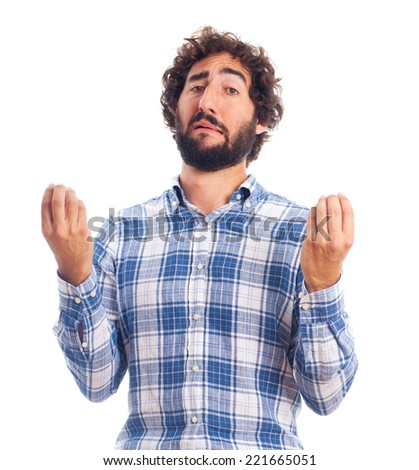 young man incomprehension - stock photo
