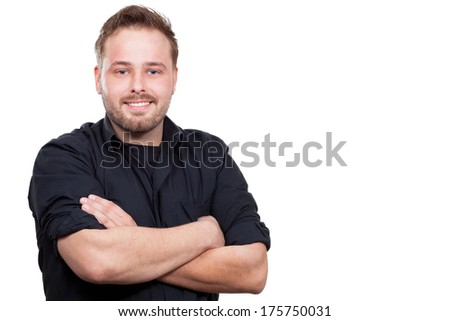 Young man is smilling - stock photo