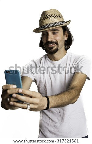 Young man isolate taking selfie picture with smart-phone