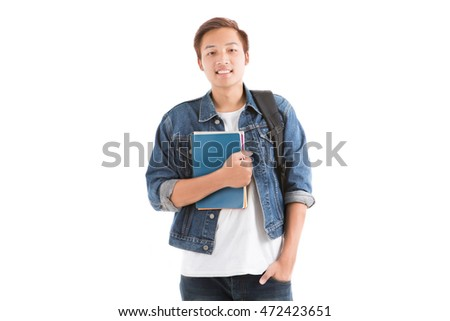 Young man isolated on white. Asian male model