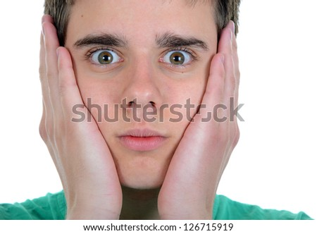 Young man isolated on white background acting surprised - stock photo