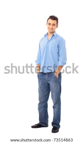young man isolated over white background - stock photo