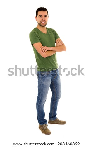 young man jeans green t-shirt standing crossing arms isolated on white - stock photo