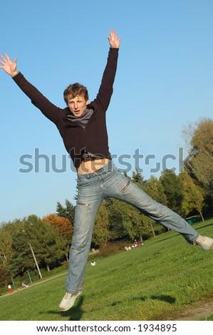 Young man jumping - stock photo