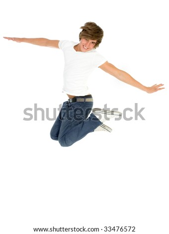 Young man jumping