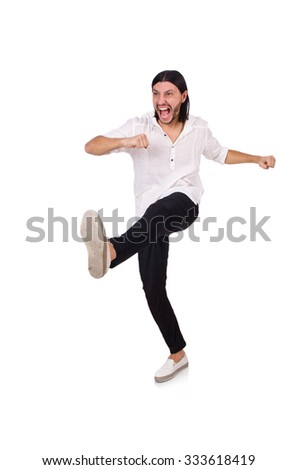 Young man kicking isolated on white - stock photo