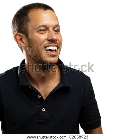 young man laughing against a white background - stock photo