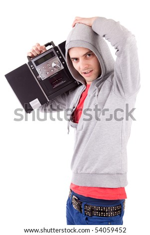 Young man listening to music - isolated - stock photo