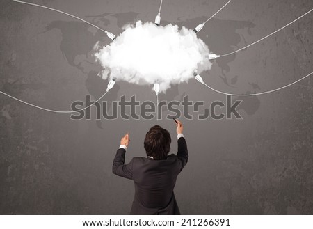 Young man looking at cloud transfer world service concept