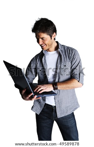 Young man looking at laptop,  studio shot isolated on white background - stock photo