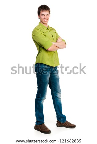 young man looking at the camera on a white background - stock photo