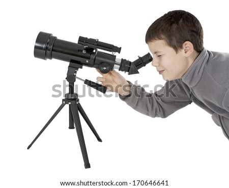 Young man looking through an astronomy telescope on tripod, clipping path