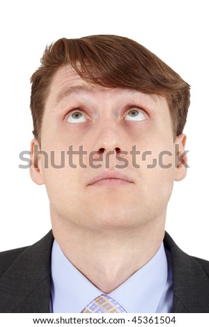 Young man looks up, isolated on a white background