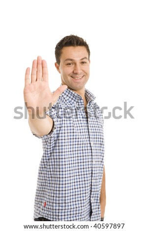 young man making a stop sign with his hand - stock photo