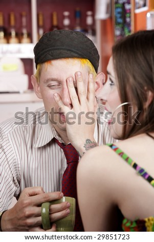 Young man making an exasperated expression gesture on a bad date - stock photo