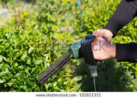 Young man mowing the grass - stock photo