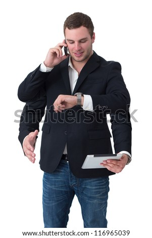 Young man multitasking on phone, watch, tablet, handshake in front of white isolated background