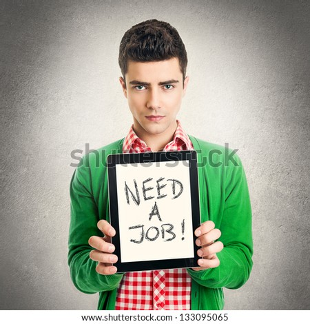 Young man needs a job - stock photo