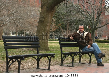 Young man on bench