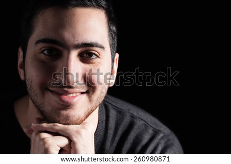 Young Man on Black Background