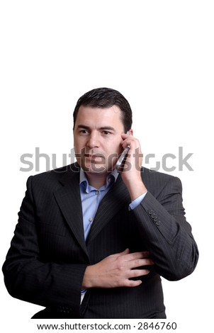 young man on the phone in white background