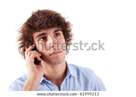 young man on the phone, isolated on white background - stock photo