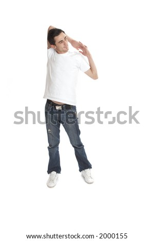 Young man over white background - stock photo