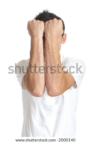 Young man over white background / doing crazy faces - stock photo
