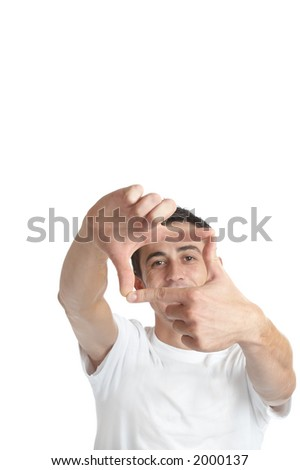 Young man over white background / focus on the hands - stock photo