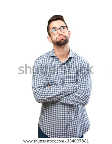 young man pensive - stock photo