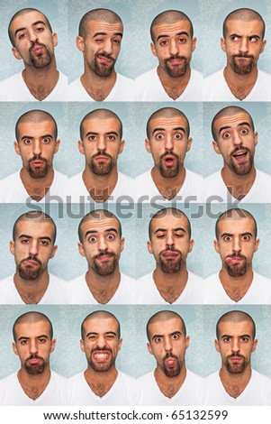 Young Man Performing Various Expressions with his Face - stock photo