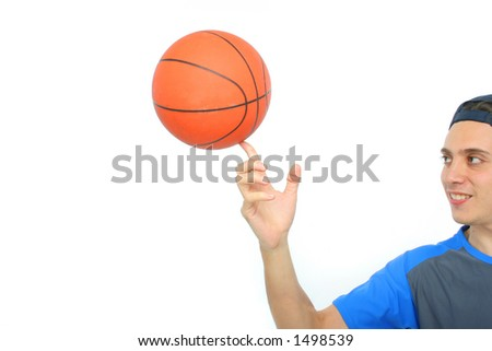 Young man playing basketball isolated. Funny expression - stock photo