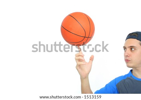 Young man playing basketball isolated. Funny expression From my sport series. - stock photo