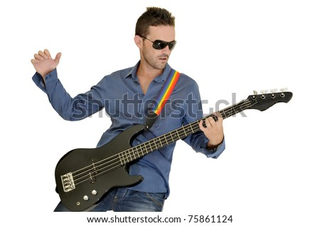 Young man playing guitar isolated in white - stock photo