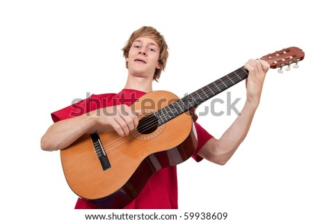 Young man playing guitar - isolated on white - stock photo