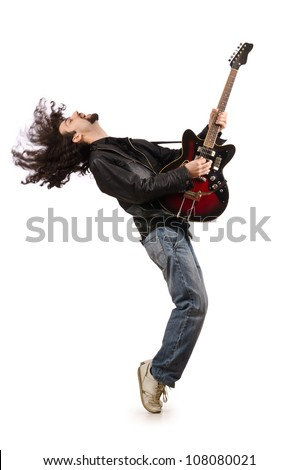 Young man playing guitar on white - stock photo