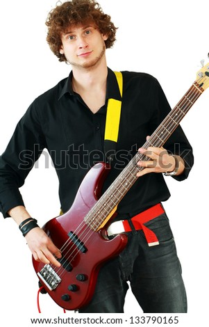 Young man playing guitar on white background
