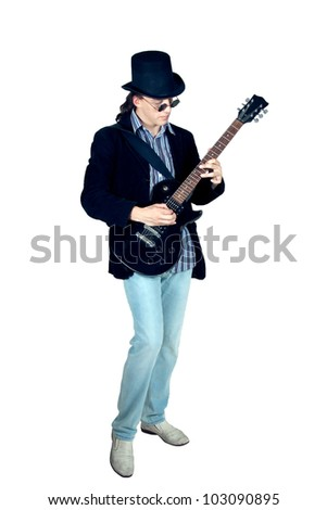 Young man playing on guitar isolated on white