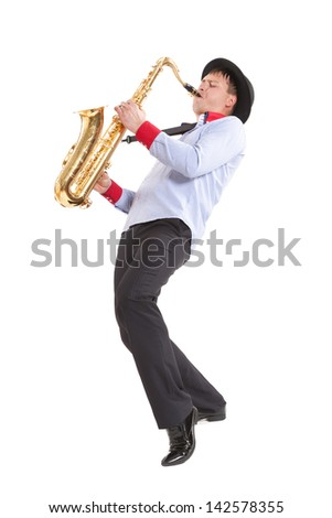 young man playing on saxophone isolated on white background - stock photo
