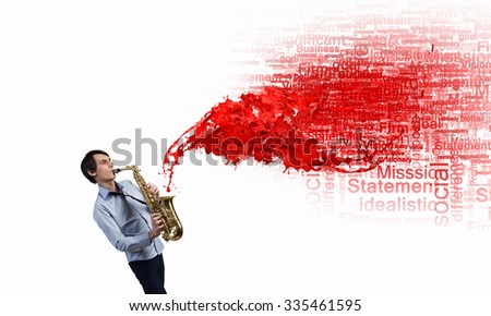 Young man playing saxophone and red splashes coming out