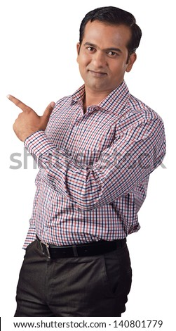 Young  man pointing at something interesting on a white background - stock photo