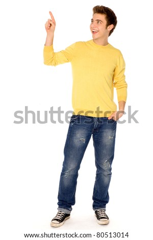 Young man pointing finger - stock photo